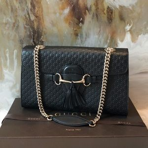 Gucci Medium Emily Guccissima Black Chain Bag